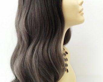 Long 25 inch Charcoal Gray w/ Dark Roots Long Wavy Wig with Heat Resistant Fiber. [115-531-Gigi-TT1B/CGray]