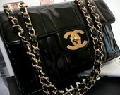 BLACK CHANEL HANDBaG ViNTAGE MaDEMOISELLE QUiLT JuMBO CHaNEL PATeNT MaXI BAG CLaSSIC DReSS GoLD SHOULDeR CHaINS FLaPBAG CoCO MeSSENGER ToTE
