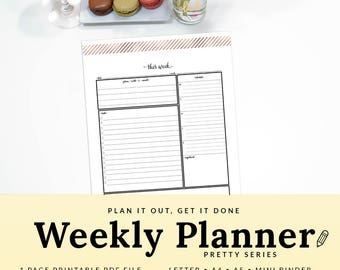 Weekly Task List - Weekly Organizer - Weekly Planner - Weekly To Do List - This Week - Work Organizer - INSTANT DOWNLOAD - PWEK1302-A