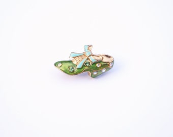 Enamel Edwardian Brooch, Vintage Pin, Cinderella Lost Slipper, Rhinestone Enamel Brass Pin, Cinderella pin gift for her