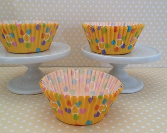 Yellow with Multi Color Dots Cupcake Baking Cups - Set of 10