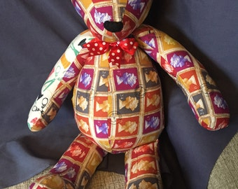 "Brand new home-made teddy bear. One of a kind 60cm/24"" tall. Cotton mix fabric, felt nose, satin bow. Made to be loved."