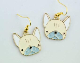 Dog earrings - dog head earrings - Rockabilly - funny jewelry - Animal jewelry - Enamel earrings - Neon earrings - Funky - funny gift