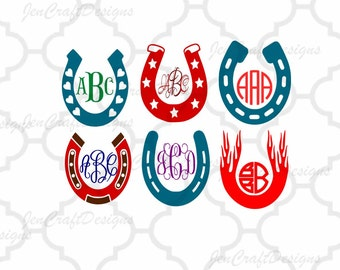 Horseshoe SVG Monogram Frames SVG, Dxf, EpsS,Png Instant Download cut files for Silhouette Studio and Cricut Design Space.