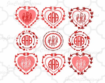 Arrow Heart Monogram Frames SVG Set, valentines SVG Eps Png Dxf,  Valentine Cricut DS Silhouette Studio, Digital Cut Files Instant Download