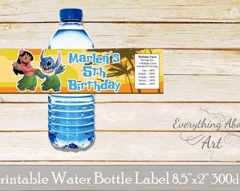 Lilo and Stitch  water bottle labels, Lilo and Stitch birthday party, Lilo and Stitch  bottle wraps, Lilo and Stitch printable labels