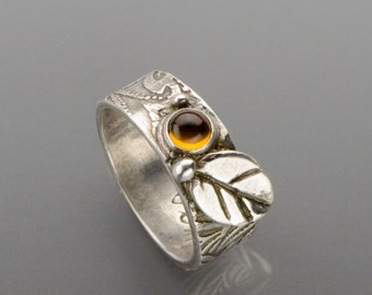 Sterling Silver and Citrine Ring with Silver Leaf