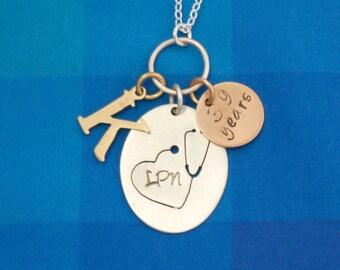 Stethoscope Heart Charm Necklace, Custom Nurse Necklace, Custom Doctor Necklace