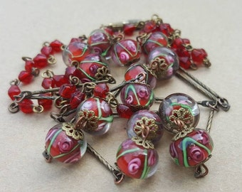 Vintage Art 1930s  Murano Venetian Red Pink Green Wedding Cake Glass Bead Necklace