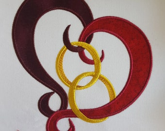 One Heart and Wedding Rings Applique Embroidery Design / Machine embroidery / Applique / Embroidery design / Weddings