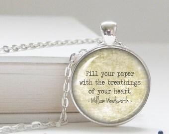 VALENTINE'S DAY! Poem necklace, Wordsworth, valentine's gift, writer pendant, poetry jewelry