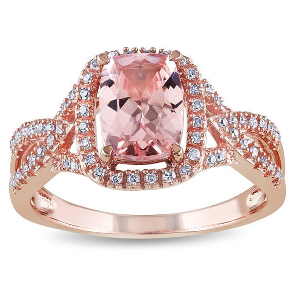 Sale Pink Morganite Ring Diamond Ring Engagement Ring 10k