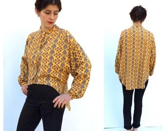 1980 s Naf Naf Yellow Paisley Asymetrical Fun Designer Shirt