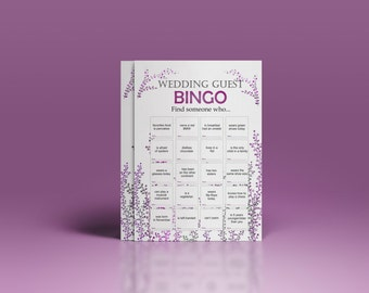 Wedding reception games, customized wedding game, wedding games for guests, printable bingo game, icebreaker for guests. wedding bingo