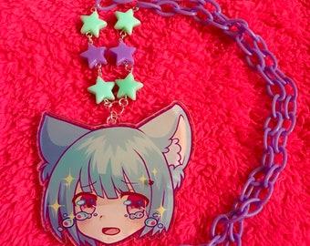 Cry Baby Neko bead necklace