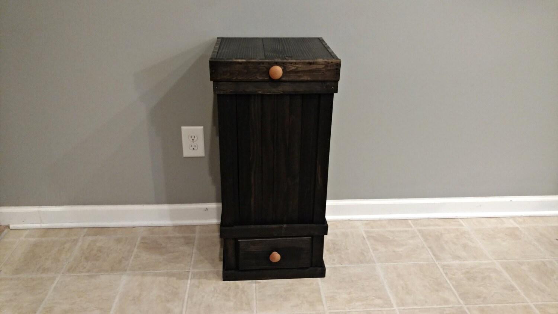 13 gallon wood trash can with drawer primitive wood trash. Black Bedroom Furniture Sets. Home Design Ideas