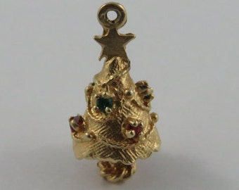 Christmas Tree With Red & Green Stones 12K Gold Vintage Charm For Bracelet