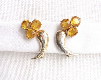 Art Deco Topaz & Sterling Silver Clip Back Vintage 1930 Earrings - Pat 1967965 Signed - Estate Jewelry