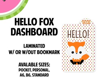 HELLO FOX Laminated Dashboard for Traveler's Notebook | .3mil | DB037