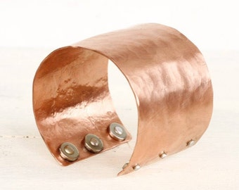 Copper Magnetic Healing Cuff Bracelet, Copper Healing Jewelry, Copper Anniversary Women, Hammered Copper Cuff, Copper and Magnet Therapy