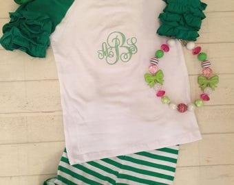 SALE SUMMER BLOWOUT!Toddler girls ruffled raglan green new style ,Short Sleeves monogrammed  ruffled raglan oricing style shorts