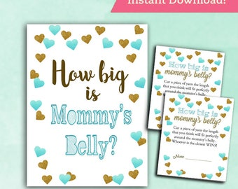 Baby Shower Game How Big is Mommy's Belly - TEAL and GOLD - Printable Digital Instant Download - cards and sign Confetti Baby BOY Shower