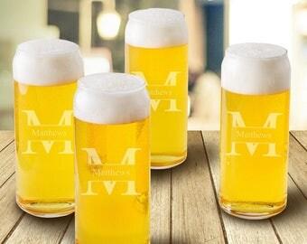 Personalized Tall Boy Beer Glasses - Pint Glasses - Beer Mug Set - Beer Gifts