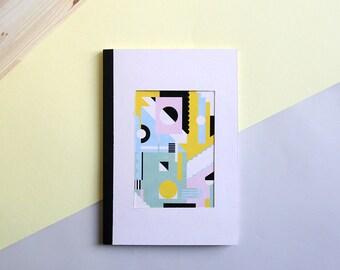 Carnet de croquis en papier recyclé - format A5 - 72 pages - personnalisable avec un nom - illustration et impression géometrique