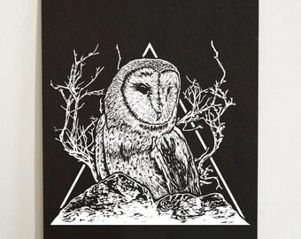 Owl A3 Screenprint - owl, tree, bird, mountains, triangle, animal, barn owl