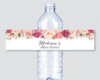 Pink Flower Bridal Shower Printable Water Bottle Labels - Rustic Pink Floral Bridal Shower Personalized Water Bottle Labels - 0024