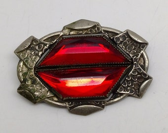 Vintage Red Rhinestone C Clasp Brooch