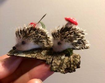 Needle felted hedgehog, 2 baby, soft sculpture, wool, felting animal, home decor, wool hedgehog, gift, plush toy