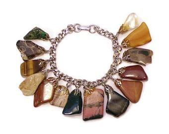 1970's Semi Precious Stone Dangle Bracelet