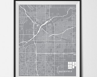 Bakersfield Map Print, Bakersfield Art Poster Custom City Map Art Bakersfield California Map of Bakersfield Gift State Map Decor