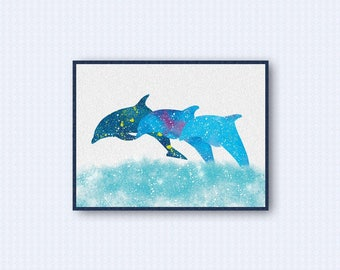 Dolphin Watercolor Poster 2