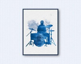 Drum Watercolor Poster