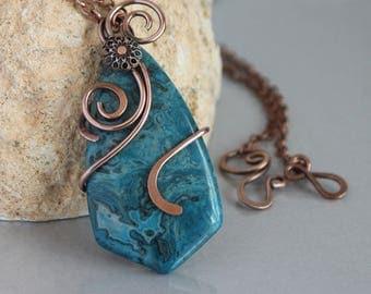 Large Pendant, Blue Crazy Lace Agate Stone Pendant Necklace,  Copper Wire Wrapped, Copper Necklace, Unique Copper Jewelry Handmade