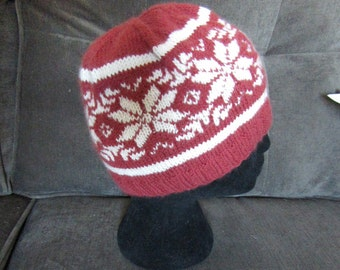 Knit wool hat fair isle red and white: hand knit warm and soft with snowflake pattern