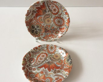 Pair of French Limoges pin dishes in Orange Paisley