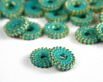 25 Pcs - 8mm Metal Verdigris Disc Spacer Beads - Patina - Green Over Gold - Spacer Beads - Jewelry Supplies