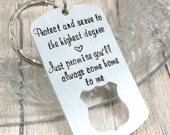 Police Officer Gift, Police Keychain, Protect And Serve, Always Come Home To Me, LEO Keyring, Police Badge, Police Academy Graduation Gifts
