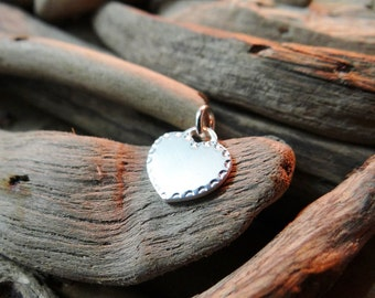 Vintage NEW Love Heart Charm Sterling Silver Blank Can be engraved or stamped custom personalised Valentines Day Lover Family Friend