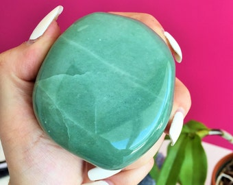 Large Aventurine Palm Stone infused w/ Reiki Perfect Heart Chakra Stone