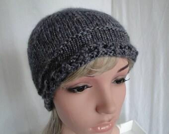 silk knit woman hat, denim-blue beanie, merino and silk cap, picot-edge hat, luxury accessory, handspun yarn beanie, blue-grey cap, beanie