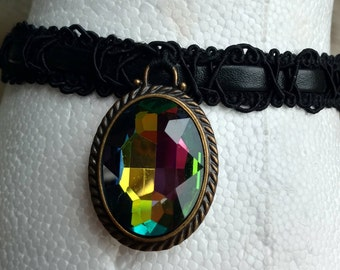 Multicolored Jewel Cameo Choker, Large Sparkly Jewel Charm, Black Trim Choker, one size fits all, elastic tie choker