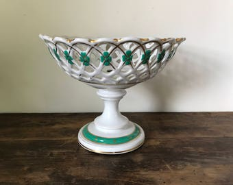 Porcelain Compote Or Basket With Green and Gold Decoration, French c. 1860