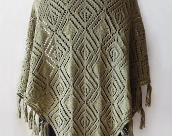 Knitted green cotton shawl, olive shawl, khaki shawl, knitted summer shawl, tweed cotton shawl, summer cotton shawl, boho shawl