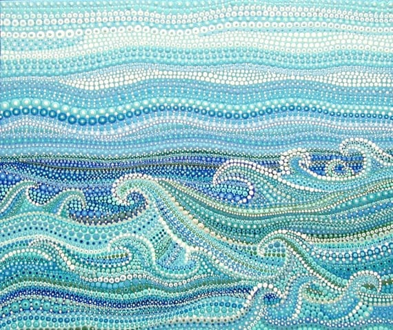 Wave Art Beach House Picture Surf Artwork Dot Painting