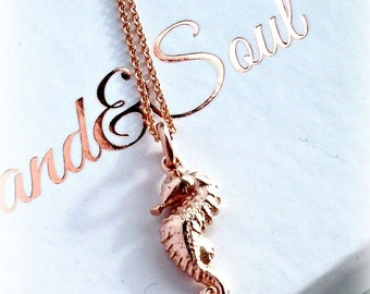 Rose Gold Seahorse Charm Necklace On Rose Gold Filled Chain - Gift For Her - Bridesmaid Necklace