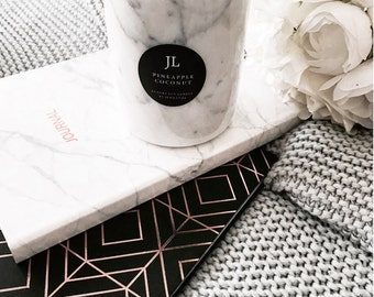 White Carrara Marble Jar with Solid Rose Gold or Gold Lid